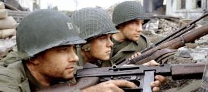 Tom Hanks, Matt Damon, and Edward Burns in Saving Private Ryan.