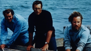 "Robert Shaw, Roy Scheider, and Richard Dreyfuss go after ""Jaws""."