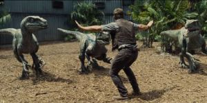 Chris Pratt calms things down in Jurassic World.
