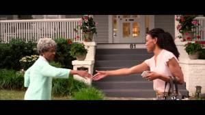 "Miss Clara (Karen Abercrombie) greets Elizabeth (Priscilla C. Shirer) in ""War Room""."